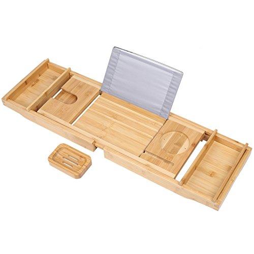 TDYNASTY DESIGN Bathtub Caddy Tray,Bamboo Wood Luxury Bath Rack Shower Organizer Tablet Holder,Cellphone Tray,Wine Glass Slots,Non-Slip Grip Soap Holder by TDYNASTY DESIGN (Image #1)