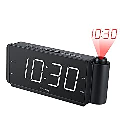 DreamSky Projection Alarm Clock Radio with USB Charging Port and FM Radio, 2  Large Led Display with Dimmer , Adjustable Alarm Volume, Snooze, Sleep Timer , DST Button, 12 Hrs Display.