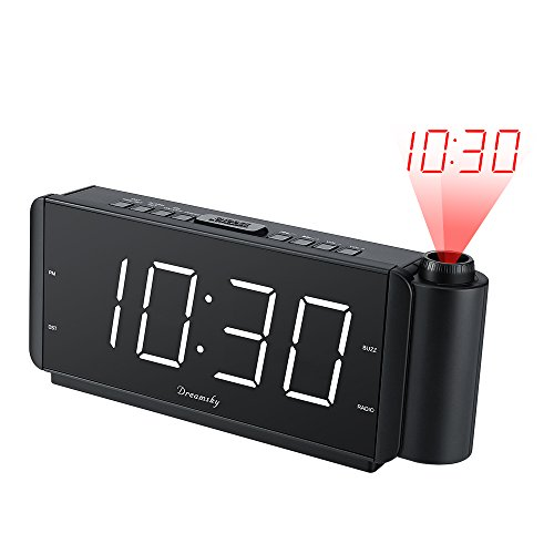 DreamSky Projection Alarm Clock Radio with USB Charging Port and FM Radio, 2