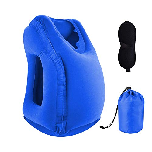 Sweesire Inflatable Travel Pillow, Airplane Pillows, Portable Neck Head Pillow for Long Flight, Train, Bus, Office Napping- Come with Eye Mask & Storage Bag (Blue)