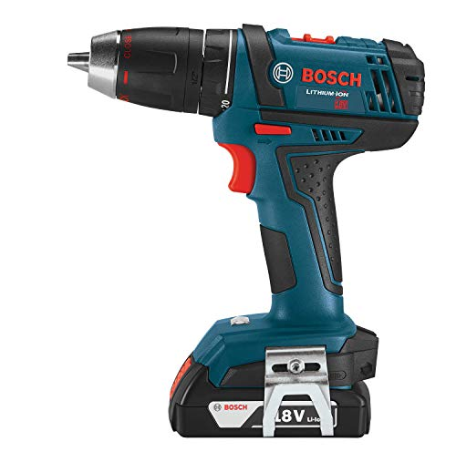 Bosch Power Tools Drill Kit DDB181-02 - 18V Cordless Drill/Driver Tool Set with 2 Lithium Ion Batteries, 18 Volt Charger, & Soft Carry Contractor Bag