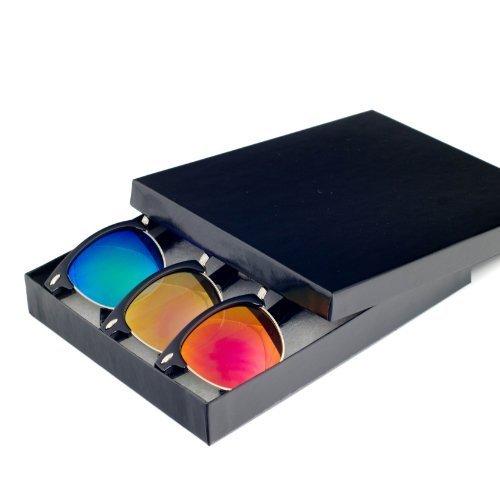 Reflective Color Mirror Mirror Lens Clumaster Sunglasses Gift Box Retro Hispter Fashion Eyewear (Style 1, - Hispter Glasses