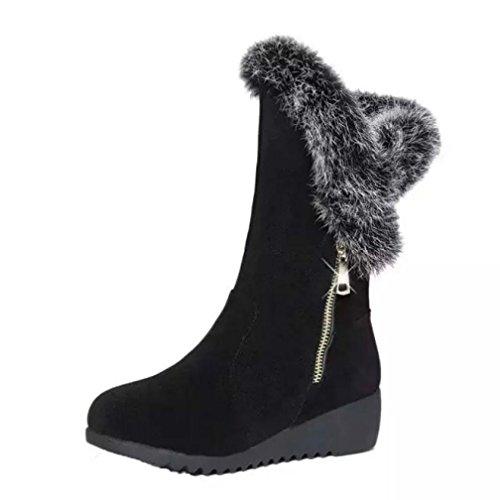 JIANGfu Womens Winter Boots Zipper Wedges Med Flatform Faux Fur Snow Boots Shoes (38, Black) Black