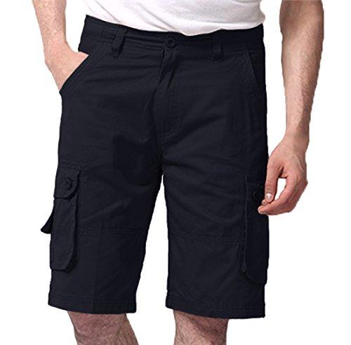 Lega Mens Summer Multi Pocket Twill Cotton Military Style Cargo Shorts(Navy/XL/34)