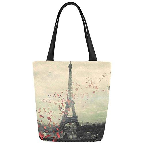 Women Girl Canvas Travel Handbag Shoulder Shopping Bag Paris Eiffel - 6