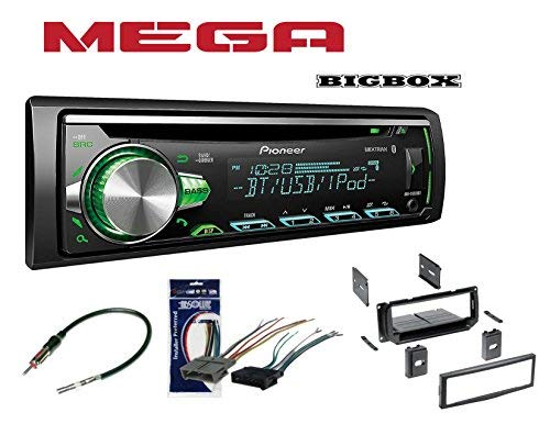 Pioneer 1DIN CAR MP3 CD Stereo W/USB AUX-in Bluetooth & Pandora+ W/Radio Stereo Install Dash Kit + Wire Harness and Antenna Adapter for Jeep Grand Cherokee (02-04), Liberty (02-07), Wrangler (03-06) (Car Antenna Mp3 Adapter)