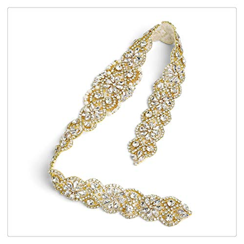 Gold Brooch Ribbon (Wedding Belt Gold Rhinestone Crystal Rhinestone Applique and Beautiful Wedding Brooch Bridal Patches Dress Accessories Without Ribbon)