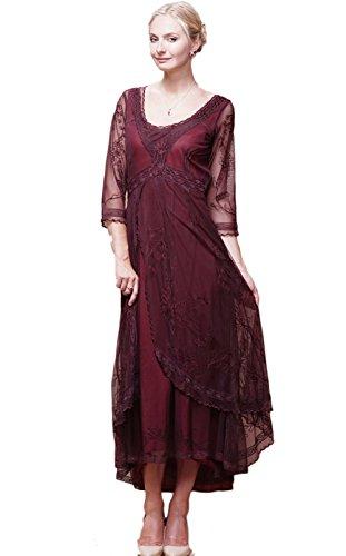 Nataya 40163 Womens Downton Abbey Tea Party Gown Antique Dress Large Plum/Ruby (Antique Womens Dress)
