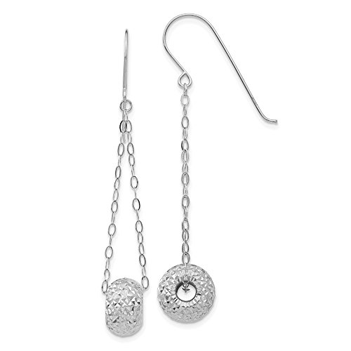 14k White Gold Dangle Polished Shepherd hook Chain With Sparkle-Cut Puff Donut Bead Earrings