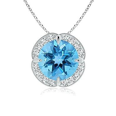 Angara Claw-Set Swiss Blue Topaz Clover Pendant with Diamond Halo oetpnJqJd9