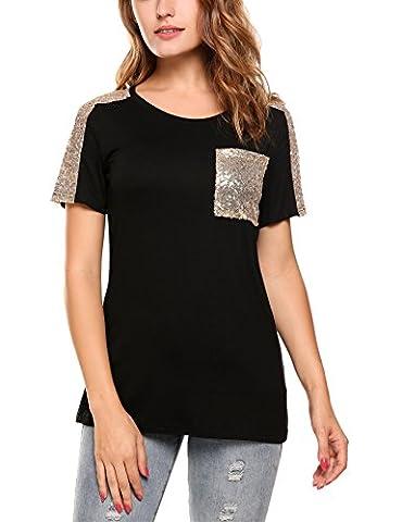 Zeagoo Women's Short Sleeve Tops Loose Fit Comfy T Shirt Blouse,Black,S - Sequin Pocket Jean