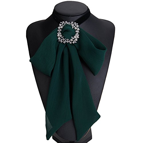 - Women Girls Yarn Lace Bow Brooch Pre-Tied Neck Tie Brooches Pin Bow Tie Collar Jewelry Dangle for Halloween (Green)