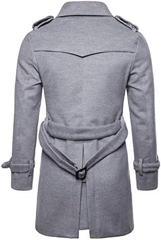 AOWOFS Manteau d'hiver Coupe Normale pour Hommes Manteau Long en Laine avec Ceinture, Gris Clair, XS