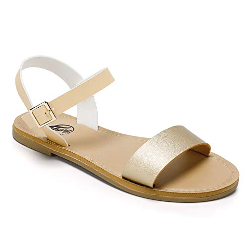 Trary Soft Faux Leather Open Toe Ankle Strap Buckle Sandals for Women Gold-Nude 055