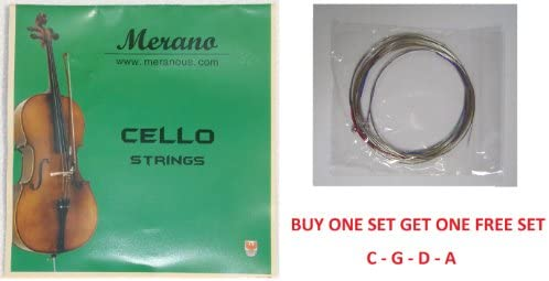 Merano 1/2, 1/4 CELLO String Set (C-G-D-A) - Buy One Get One FREE ~ Beginner, Student, Replacement