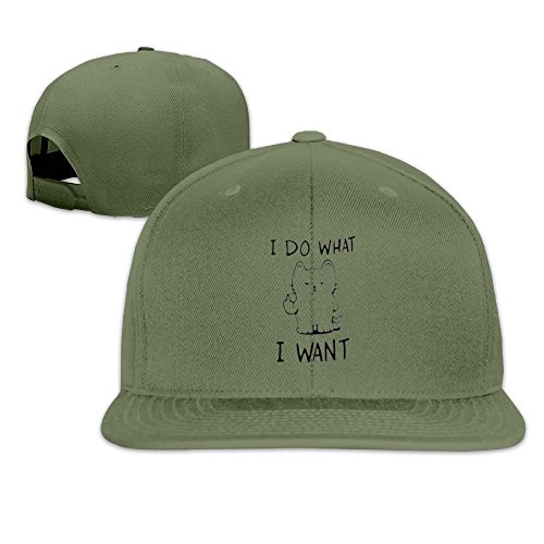 I Do What I Want Cat Unisex Causal Fitted Flat Bill Boarder Cap For Men And - Face I Want Round A