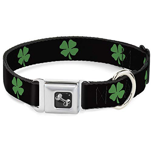 Dog Collar Seatbelt Buckle St Pats Black Green 18 to 32 Inches 1.5 Inch Wide