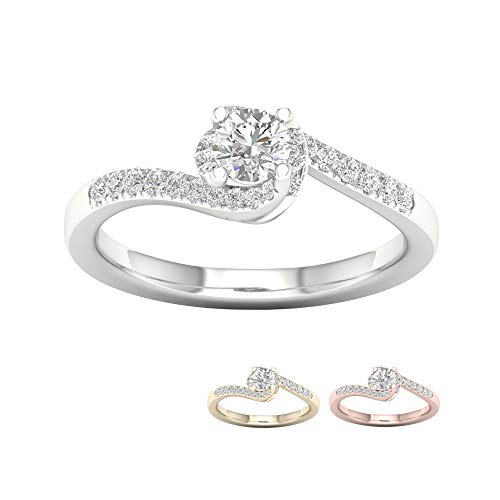 IGI Certified 10k Yellow Gold 1/2 Ct TDW Round Diamond Bypass Engagement Ring for women (I-J,I2)