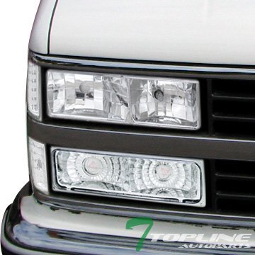 Topline Autopart Chrome Clear Head Lights Headlights Lamps Left + Right DY 88-00 Chevy GMC C10 C/K Truck SUV (Halo Headlights 1993 Chevy compare prices)