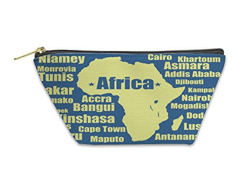 Gear New Accessory Zipper Pouch, Africa Map Yellow On White High Detailed Illustration, Large, 5930560GN by Gear New