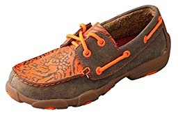 Twisted X Boots Children\'s Leather 2-Eye Driving Moc,Bomber/Neon Orange Leather,
