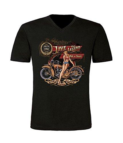 Classic Bike Pin Up T-Shirt mit V-Ausschnitt