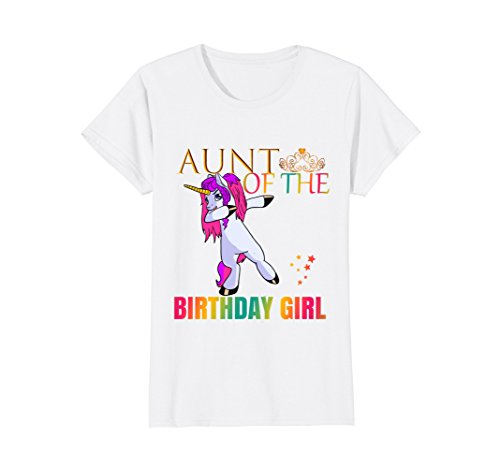 Aunt Girls T-shirt (Womens AUNT Of The Birthday Girl Dabbing Unicorn Party Shirt Small White)
