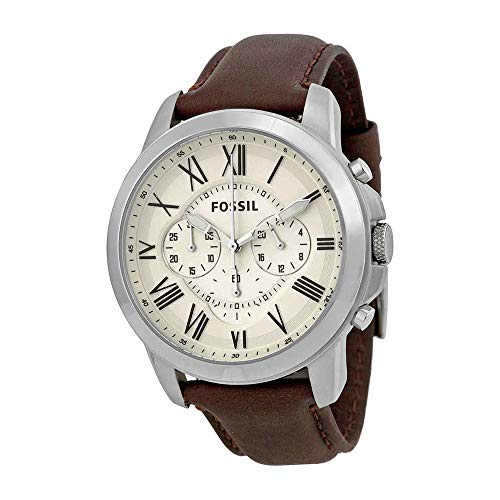 - Fossil Men's Grant Quartz Stainless Steel and Leather Chronograph Watch, Color: Silver-Tone, Brown (Model: FS4735)