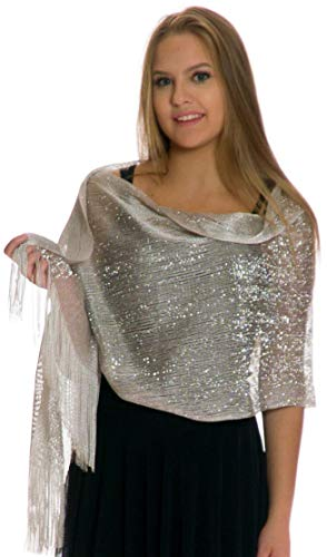 1920s Wedding Shawl, Metallic Sparkle Party Formal Shawls and Wraps for Evening Dresses Silver