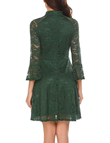 Sleeve A Line 3 Lace Cocktail Lace Swing Dark 4 Women's Green Dresses Party ELESOL Dress qpxBXy