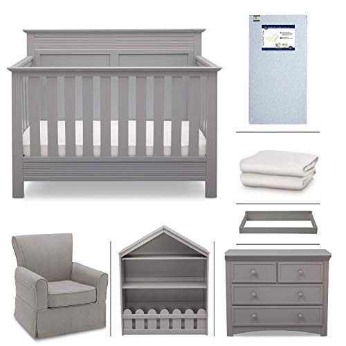 (Crib Furniture - 7 Piece Nursery Set with Crib Mattress, Convertible Crib, Dresser, Bookcase, Glider Chair, Changing Top, Crib Sheets, Serta Fall River - Gray/Dove)