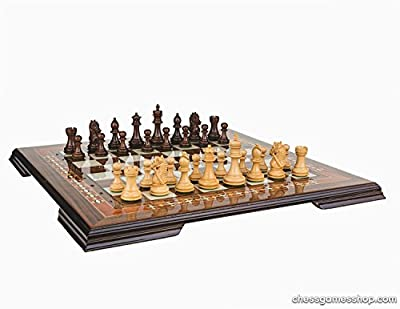 Luxury handmade chess set-wooden chessmen, WALNUT mosaic chess board-extra queens