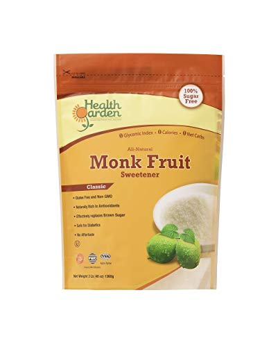 - Monk Fruit Sugar Free Sweetener Classic - All Natural, Non GMO, Zero Glycemic Index, No Calories & No Carbs, 3 lbs. -