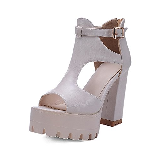 AmoonyFashion Womens Buckle High-Heels Microfiber Solid Open-Toe Sandals Beige wV6uWTKtMz