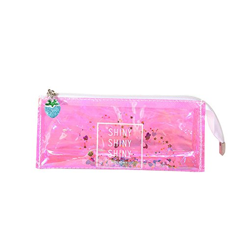 charmsamx Colorful Stationery Pencil Pen Case Office School Storage Organizer Durable Bag Pouch Holder Box Transparent PVC Pencil Pouch Pen Bag Cosmetic Pouch with Zipper, Sequin from charmsamx