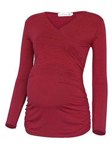 BlackCherry Women's Long Sleeve V-Neck Side Ruching Maternity Nursing Top by BlackCherry
