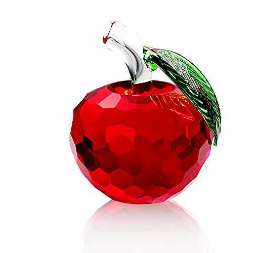 Duosuny Crystal Apple Paperweight  60Mm Art Glass Apple Collectible Figurines Best For Lucky Christmas Eve Gifts Great Wedding Decor Gifts  Red