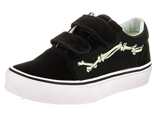 Vans Kids Old Skool V (Glow Bones) Black/True White Skate Shoe 11 Kids US - Image 1