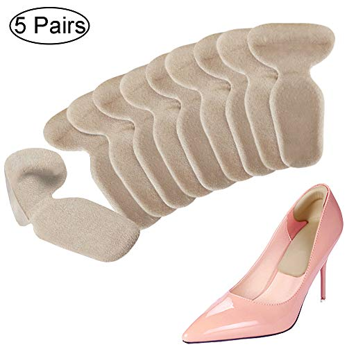 Heel Cushion Inserts - Heel Grips Shoe Pads for Women - Adhesive Gel Liners for Womens Loose Shoes High Heels Too Big Blister Prevention and Protectors (10 pcs) (Beige)