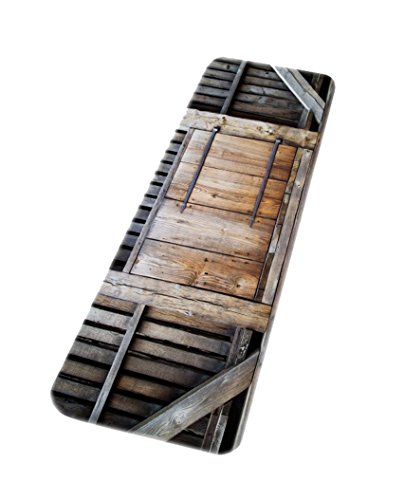 A.Monamour Rustic Retro Garden Fence Wooden Planks Barn Garage Door 3D Art Print Microfiber Flannel Machine Washable Non-Slip Bathroom Mats Rugs Front Door Carpets Doormats 40x120cm / 16