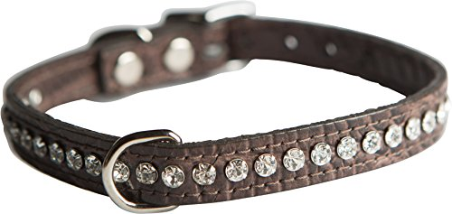 OmniPet Signature Leather Crystal and Dog Collar, Faux Crocodile Print, 14