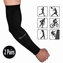DoSmart Black Silk UV-Protection Unisex Cooling Arm Sleeves for Outdoor Sports (Driving/Riding / Basketball/Hiking / Golf)