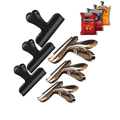 - Purplebook Chip Bag Clips,NO More Sharp Edges,Heavy Duty 3 Inches Wide Electroplated Stainless Steel Chip Bag Clips,Great for Air Tight Seal Grip on Coffee & Food Bags, Kitchen Home Office Usag,6 Pack