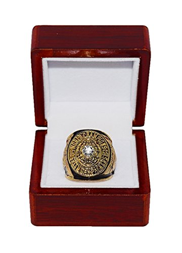 - GREEN BAY PACKERS (Bart Starr) 1966 SUPER BOWL I WORLD CHAMPIONS (First Super Bowl) Vintage Rare & Collectible Replica National Football League Gold NFL Championship Ring with Cherrywood Display Box