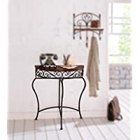 Boston Metal Half Moon Console Table with Wood Top, Scroll Accent, Dark Brown Product SKU: HD223560