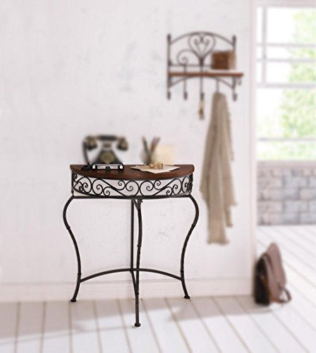 Boston Metal Half Moon Console Table with Wood Top, Scroll Accent, Dark Brown Product SKU: (Half Moon Wood Table)