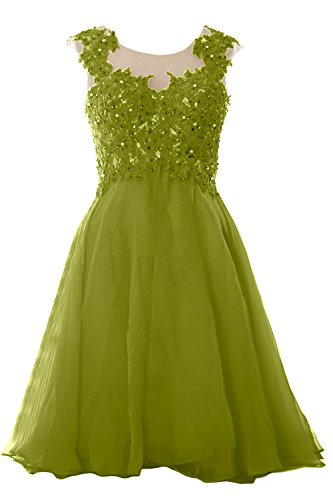 MACloth Women Lace Chiffon Short Prom Dress Wedding Party Formal Homecoming Gown Verde Oliva