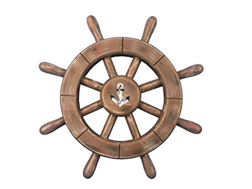 Hampton Nautical  Rustic Wood Finish Decorative Ship Wheel with Anchor 12""