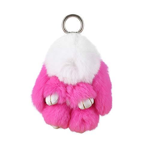 - IKEPOD Rex Rabbit Fur Keychain, Fluffy Real Bunny Keyring, Soft Cute Pom Pom Ball Doll Pendant Key Chain, Plush Charms for Car/Handbag