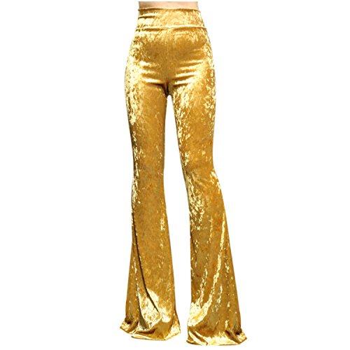 ShopMyTrend SMT Women's High Waist Wide Leg Long Bell Bottom Yoga Pants Large Velvet Gold